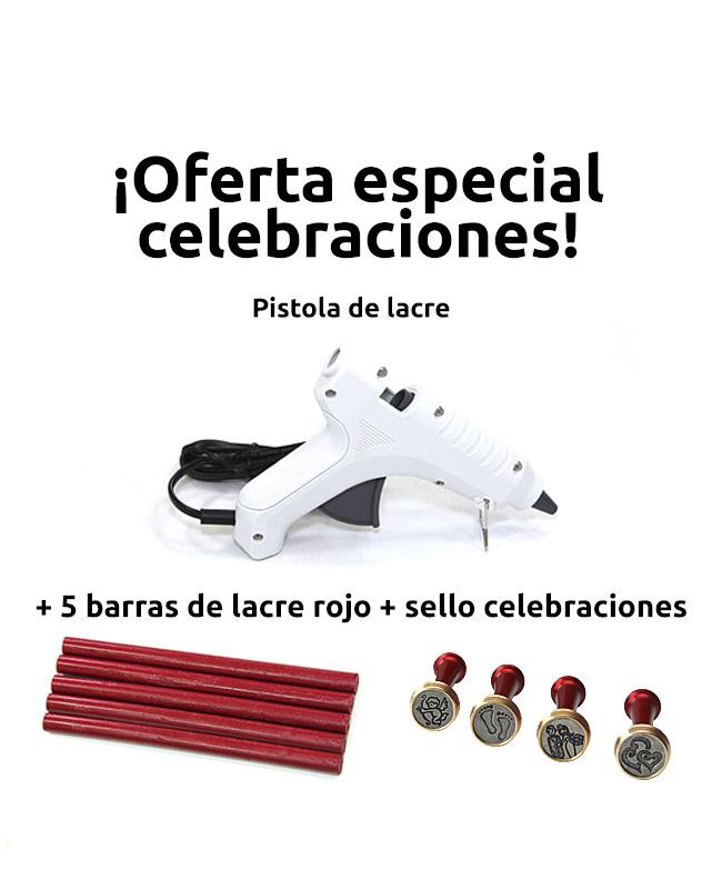 Pistola de lacre más barras más sello celebraciones